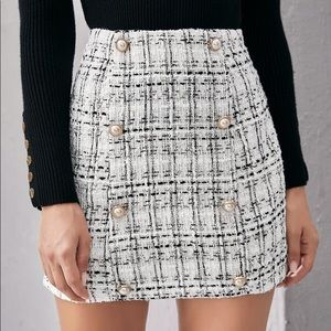 SHEIN Tweed Gold Pearl Button Skirt